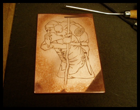 a small copper plate in progress� the school of the