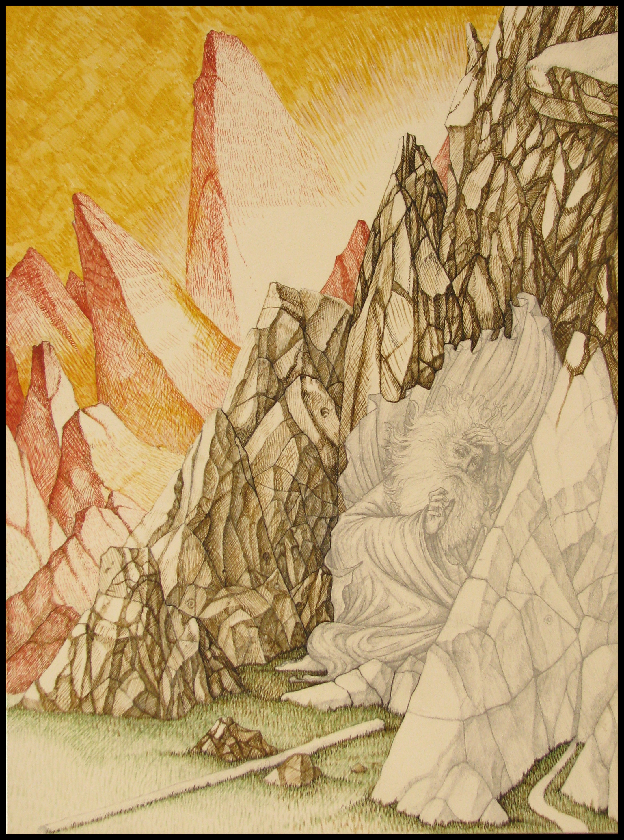 underpainting for moses in the cleft of rock  u2013 the school