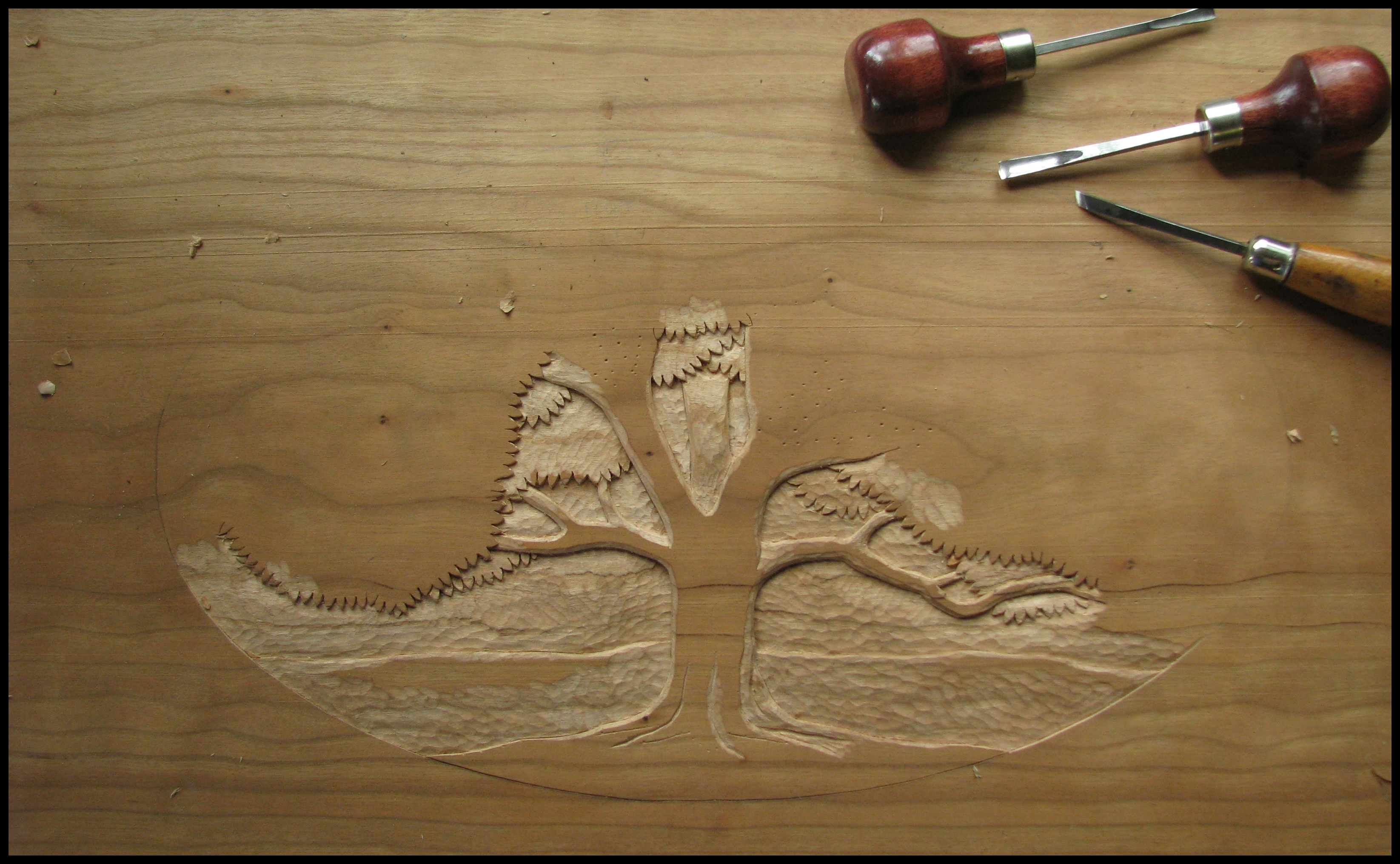 Wood carving the school of transfer energy