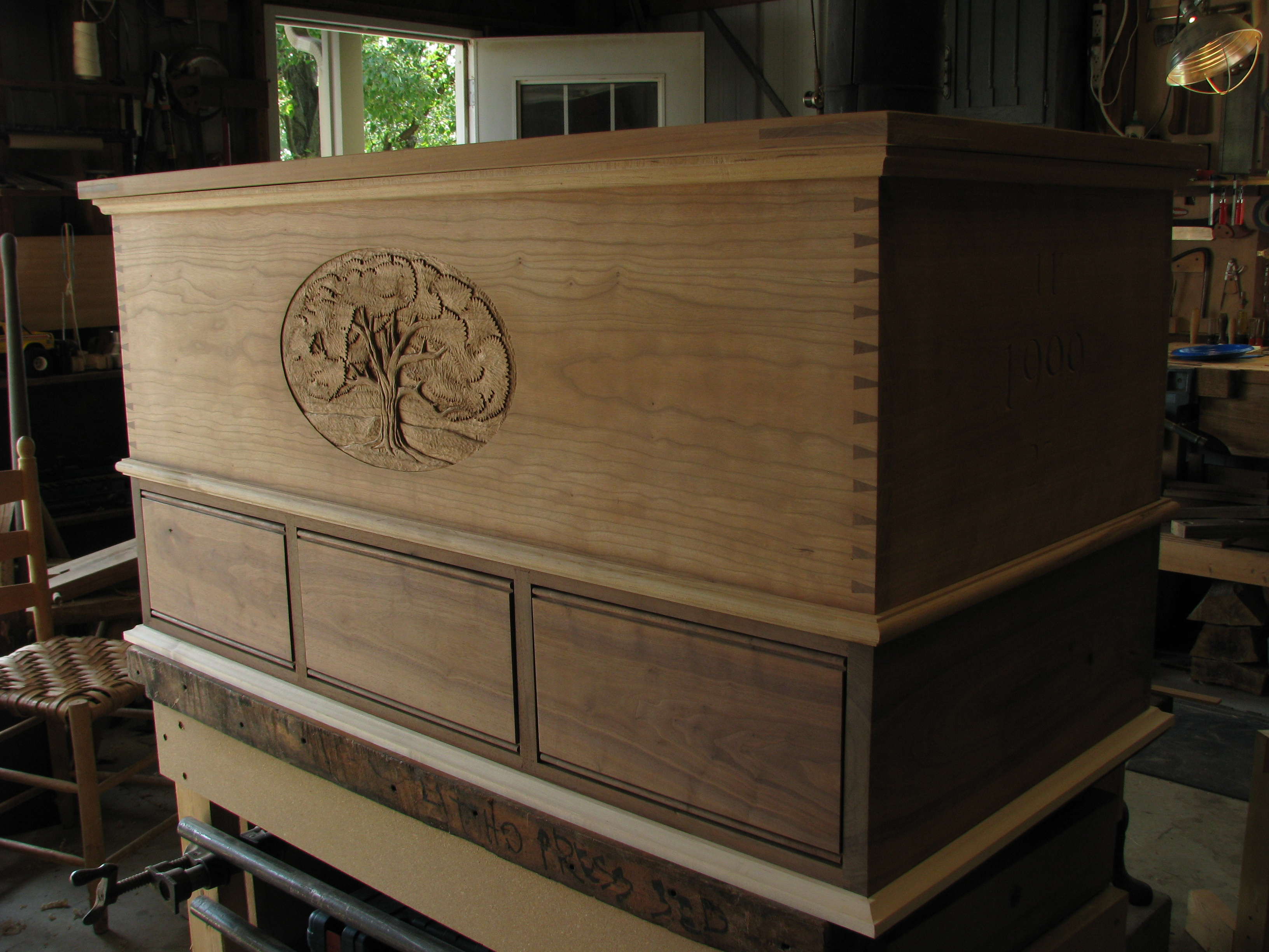 Category: Woodwork Tagged: Blanket Chest, Cherry Wood, Custom Furniture,  Dovetailed Chest, Hope Chest, Walnut