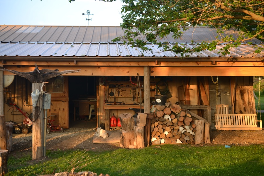 the shop lean-to in the evening
