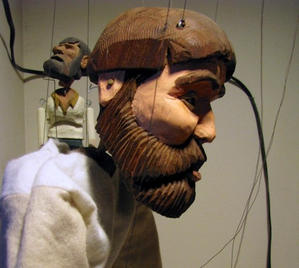 Jonas Marionette and Laceroot rod puppet, from the play The Two Deaths of John Beartrist Laceroot