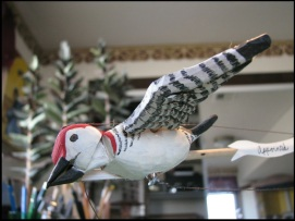 Red Bellied Woodpecker, rod and string puppet