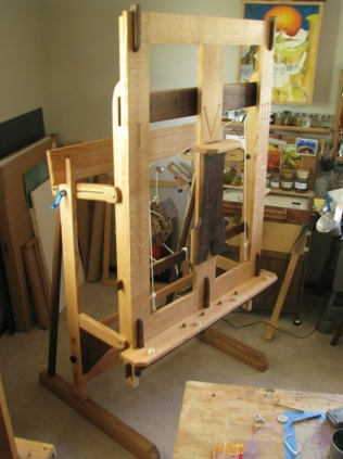 Counter-balanced Easel, Red and White Oaks and Walnut