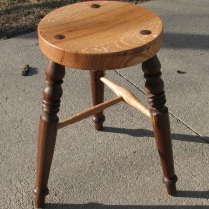 Red Oak and Walnut Stool