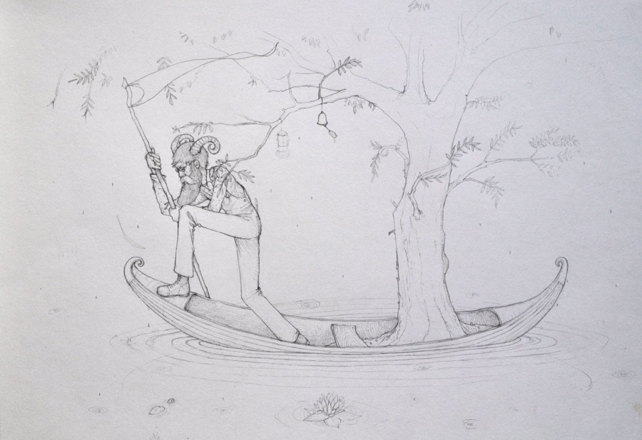 Walking Man on a boat in the mist