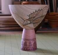 cedar and cypress pyrographed vessel