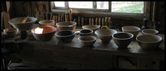 bowls on the bench