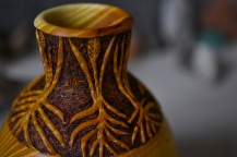carved osage orange vessel