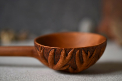 carved pear-wood spoon