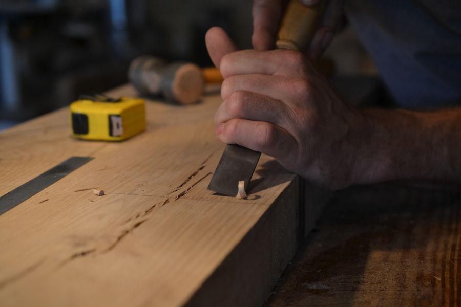 Oak and Walnut Table build12