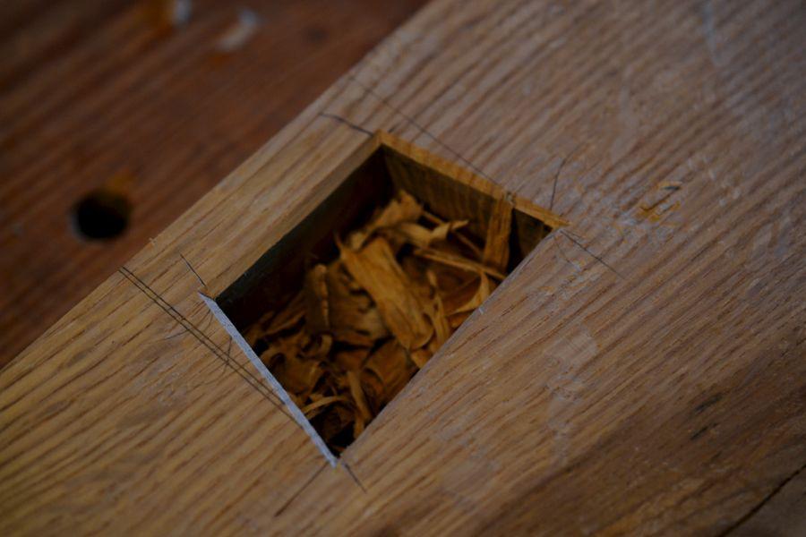 Oak and Walnut Table build16