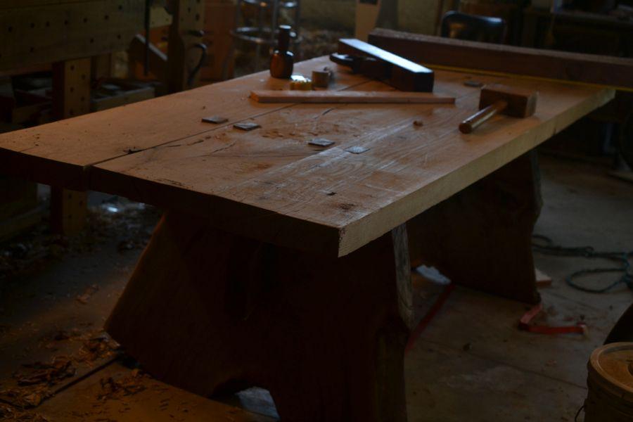 Oak and Walnut Table build21