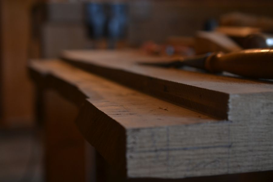 Oak and Walnut Table build25