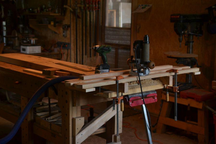 Oak and Walnut Table build26