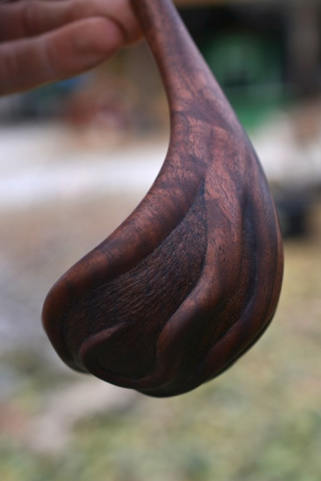 carved walnut ladle