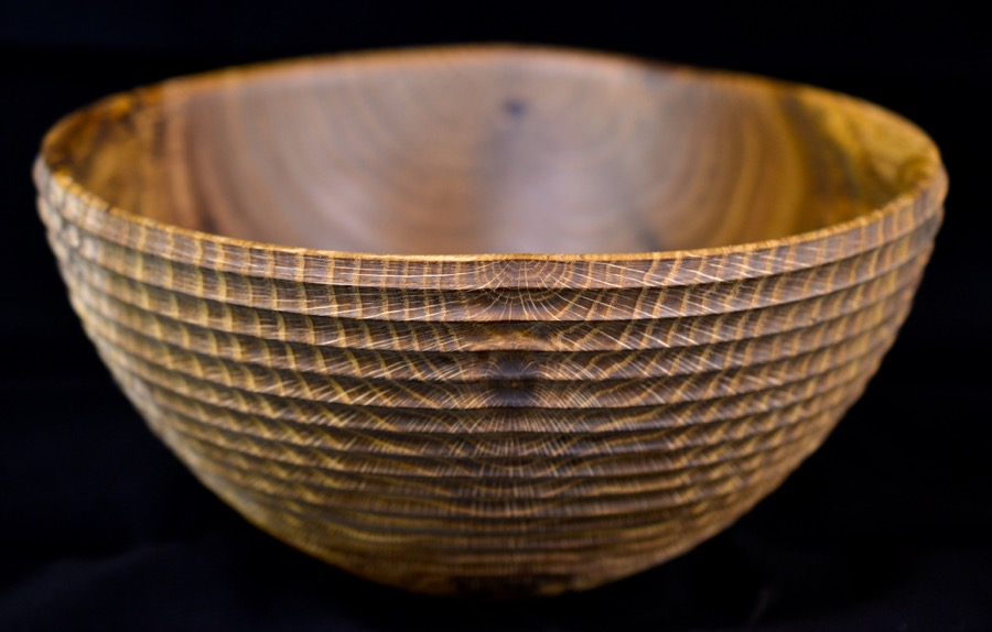fumed and textured red oak bowl